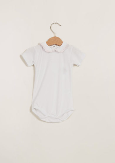 BARONI - Baby girl's cotton bodysuit with rouches collar