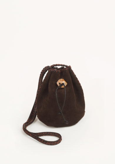 IACOBELLA - Nirmala oak brown bucket bag in suede