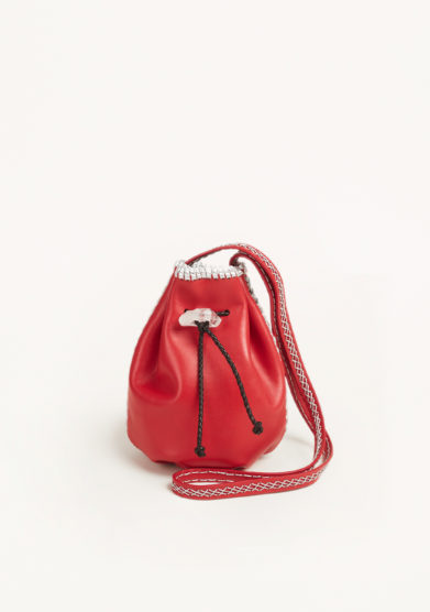 IACOBELLA - Nirmala ruby red bucket bag in leather