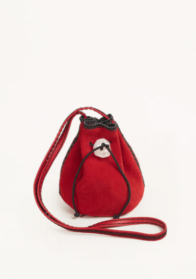 IACOBELLA - Nirmala ruby red bucket bag in suede