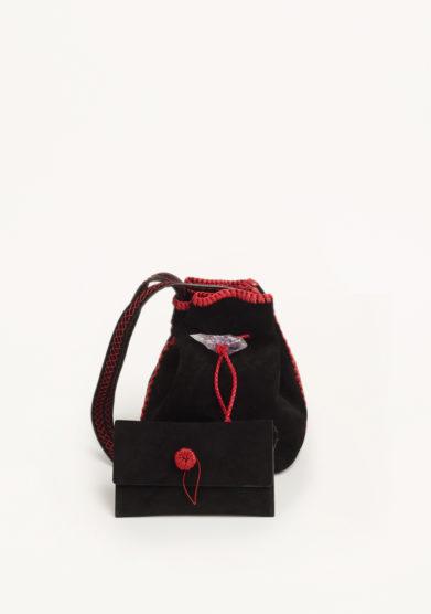 IACOBELLA - Nirmala black eclipse bucket bag in suede