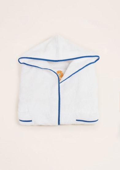 LORETTA CAPONI - Pure cotton baby bathrobe with crown