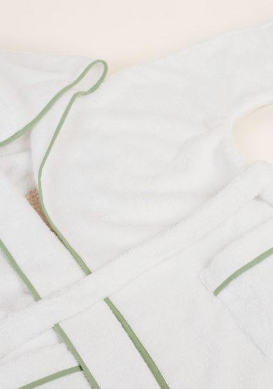 LORETTA CAPONI - Pure cotton baby bathrobe with hippopotamus