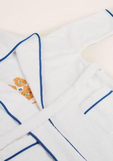 LORETTA CAPONI - Pure cotton baby bathrobe with crown
