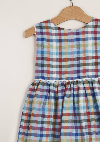 M. FERRARI - High-waisted style checked dress