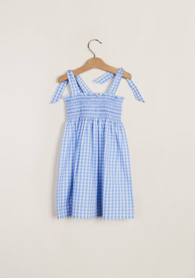 M. FERRARI - Girl's light-blue gingham cotton dress