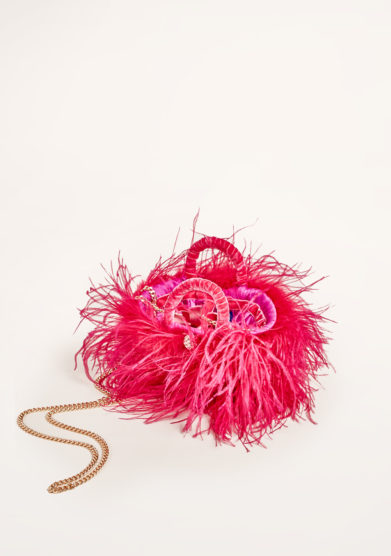 PESCE PAZZO - Fuchsia feather-trimmed embellished bag