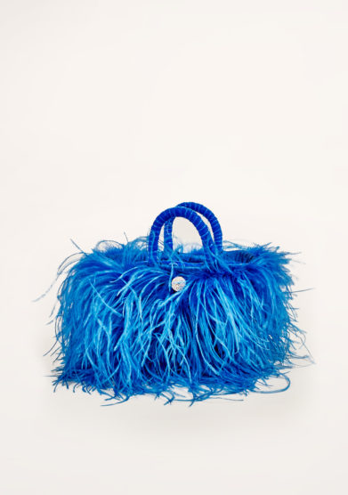 PESCE PAZZO - Feather-trimmed embellished bag