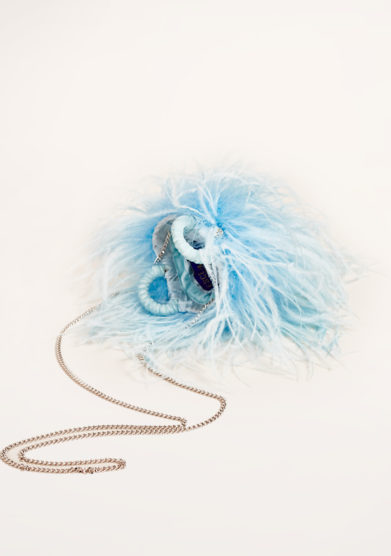 PESCE PAZZO - Light blue feather-trimmed embellished bag