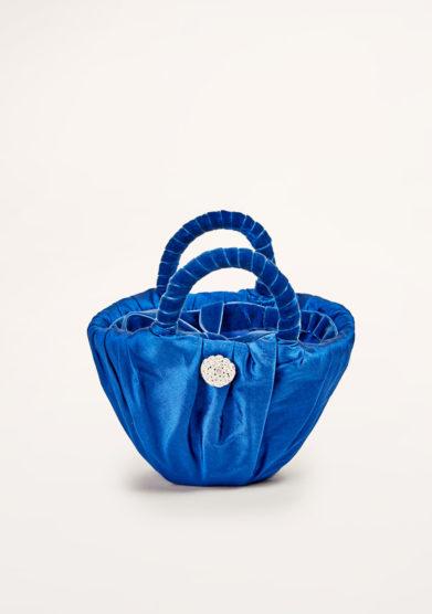 PESCE PAZZO - Blue satin clutch