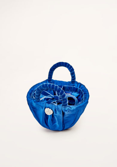 PESCEPAZZO - Handbag in electric blue silk shantung