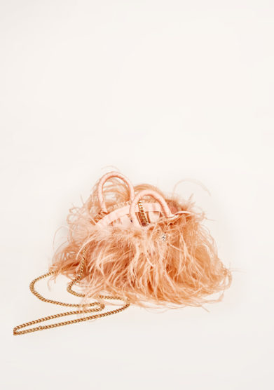 PESCEPAZZO - Nude pink feather-trimmed embellished bag