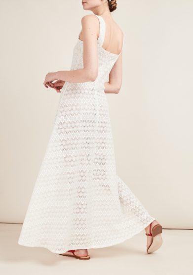 Gioia bini abito macramè lungo bianco