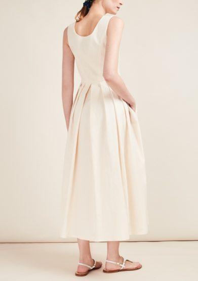 Gioia bini abito avorio lungo cotone senza maniche