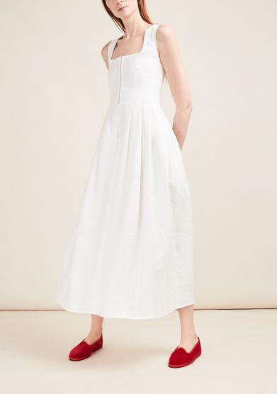 Gioia bini abito lino bianco senza maniche