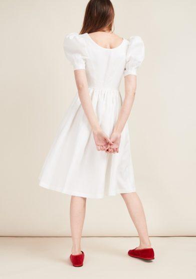 Abito lino bianco gioia bini mezza manica