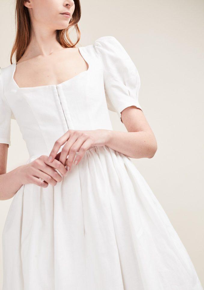 Gioia bini abito lino bianco manica palloncino