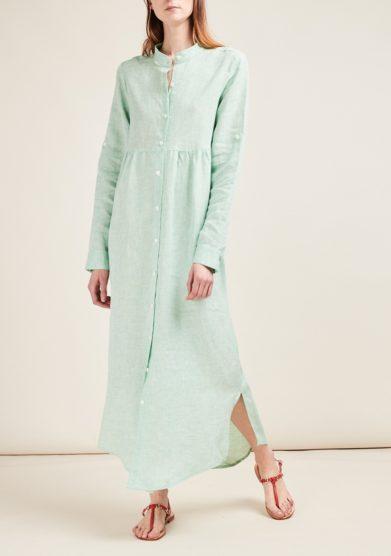 Gioia bini abito chemisier lino verde menta