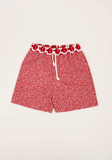 MAGHI E MACI - Red flower print swimshorts