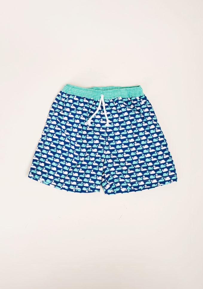 MAGHI E MACI - Boy's swan print swimshorts