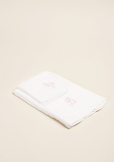 BARONI - Pure cotton hand-towel set with letter embroidered
