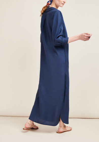 CAFTANII FIRENZE - Celine linen blue kaftan dress