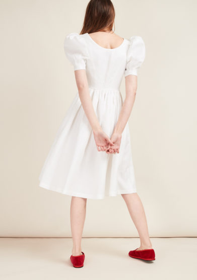 GIOIA BINI - White midi linen dress