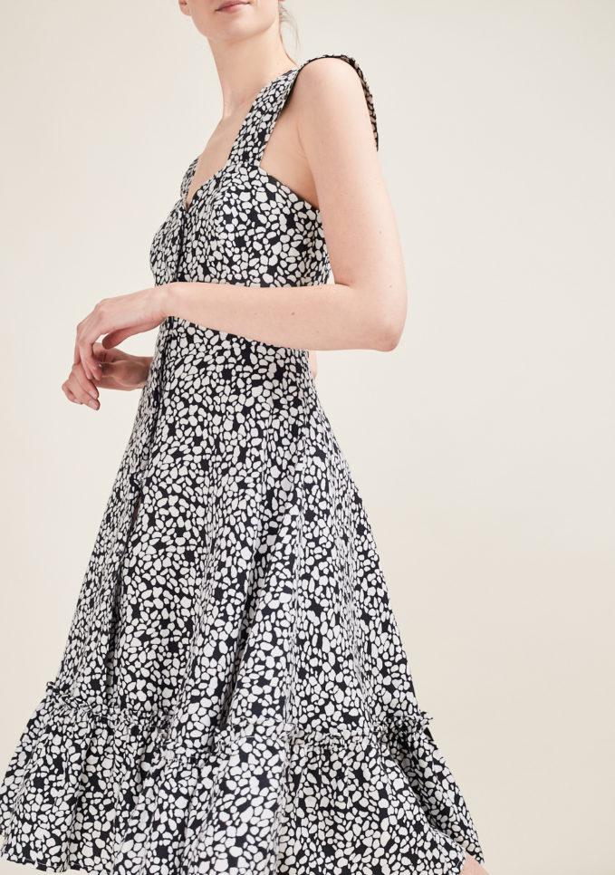 GIOIA BINI - Camilla ruffle-trimmed black and white dress
