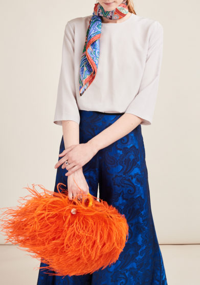 PESCE PAZZO - Orange feather-trimmed embellished bag