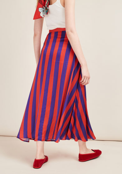 POUPINE - Red/violet striped midi skirt