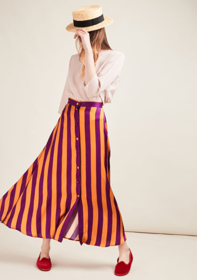 POUPINE - Yellow/violet striped midi skirt