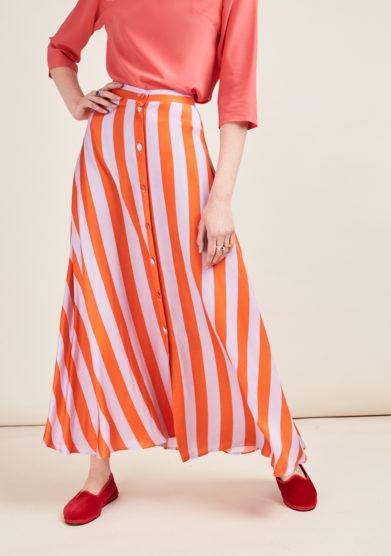 POUPINE - Orange/lilac striped midi skirt