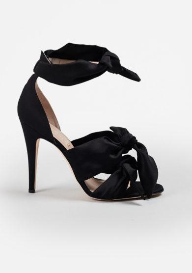 GIA COUTURE - Katia bows sandals in black silk satin