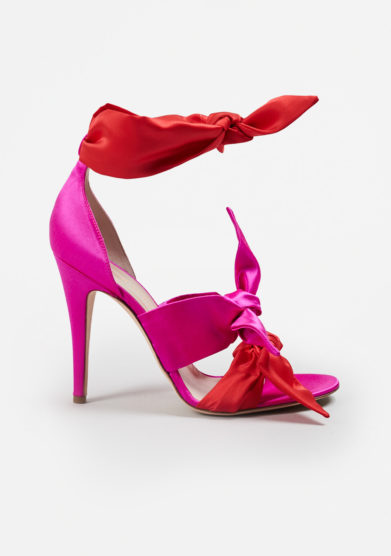 GIA COUTURE - Katia bows sandals in red-fuchsia silk satin