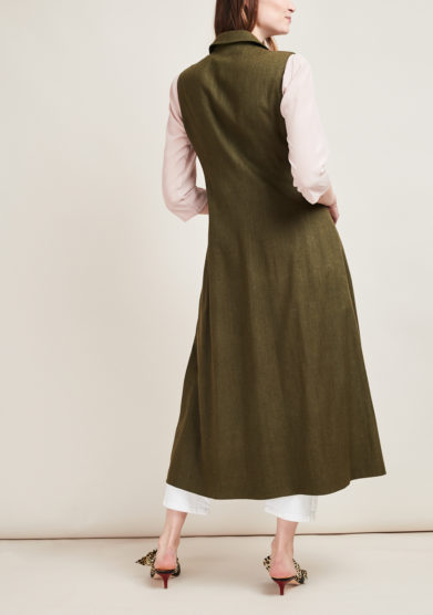 SCILE' - Silk long military-green gillet