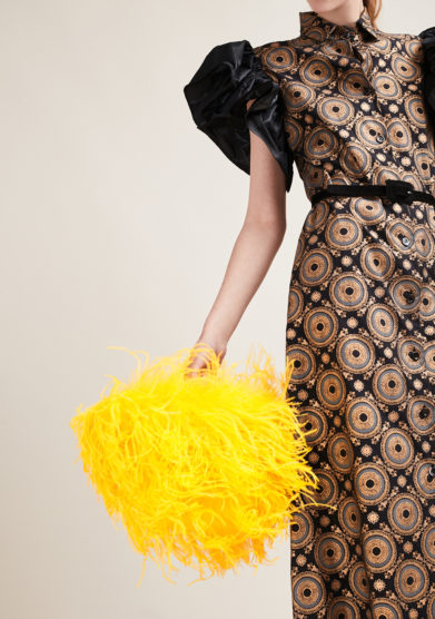 PESCE PAZZO - Yellow feather-trimmed embellished bag