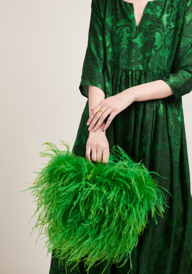 PESCE PAZZO - Green feather-trimmed embellished bag