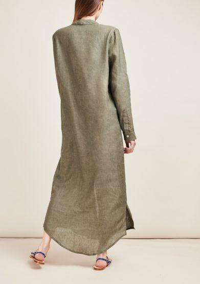 Gioia bini abito chemisier lino verde militare