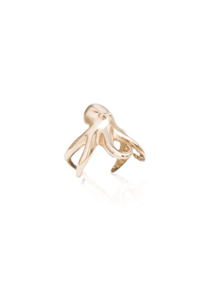 BONA CALVI - Octopus ring in yellow bronze