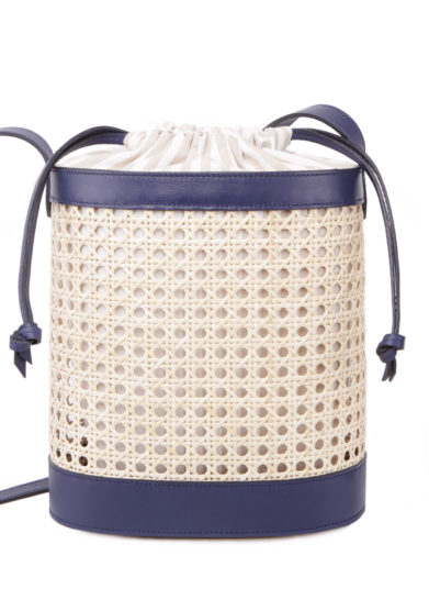 SARTA - Pablo straw and blue leather bucket bag