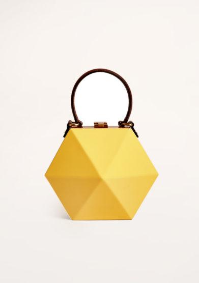 VIRGINIA SEVERINI - Yellow wooden handbag