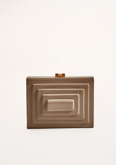 VIRGINIA SEVERINI - Rectangular taupe wooden clutch