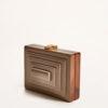 VIRGINIA SEVERINI - Rectangular taupe wooden clutch