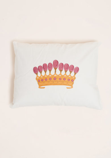 LORETTA CAPONI - Cushion with crown embroidered