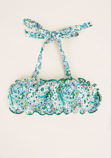 MAGHI E MACI - Girl's cotton green paisley print top