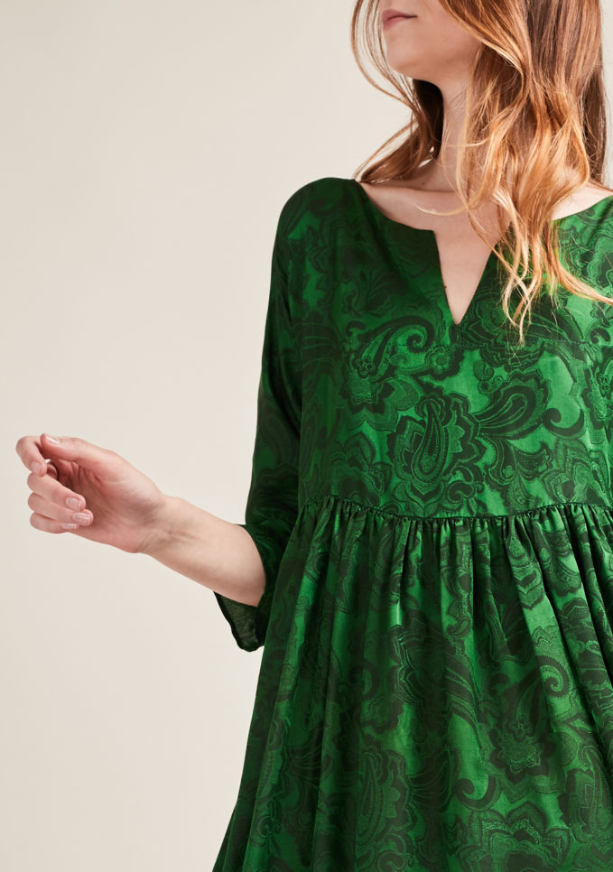 Zippy paisley linen and silk dress