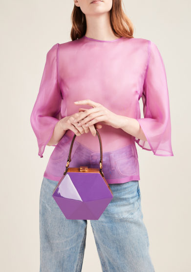 VIRGINIA SEVERINI - Purple wooden handbag