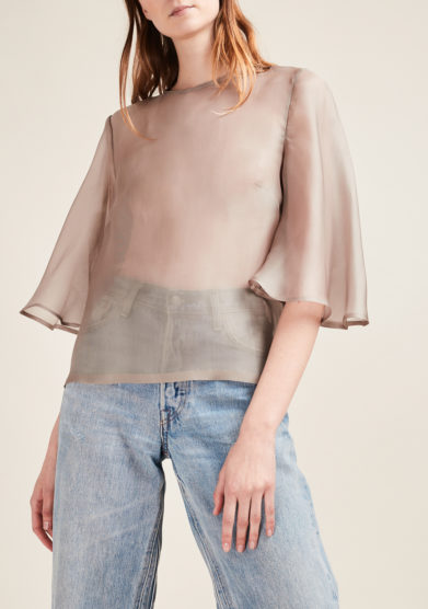 VIRTUOSA MUSE - Light grey silk organza blouse