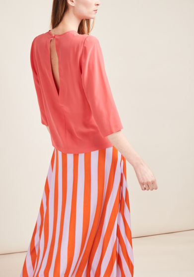 VIRTUOSA MUSE - Coral crêpe de chine blouse