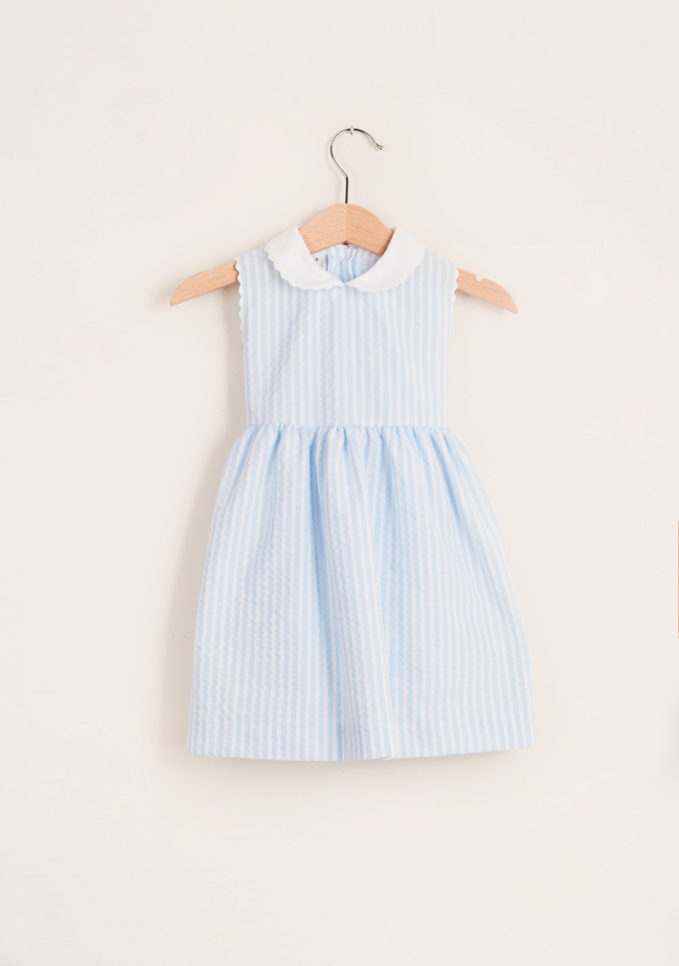 BARONI - Girl's striped cotton dress with trim collar
